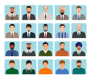 Avatars characters set of different kind men. Business, elegant and sports male people icons faces. Stock Photos