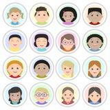 Avatars, children`s portraits. Boys and girls Royalty Free Stock Photography