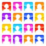 Avatars coloridos plano com fundo brilhante Fotografia de Stock Royalty Free