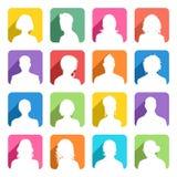 Avatars coloridos plano com sombra do molde Fotos de Stock
