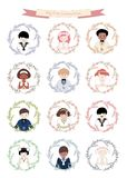 Avatars of cute boys and girls dressed in communion clothes surrounded by flowers wreath. Isolated on white background. First Communion reminder Stock Image