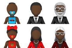 avatars 3d av afrikanskt folk Royaltyfri Fotografi
