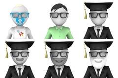 avatars 3d av forskare Arkivbild