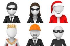 avatars 3d av jultomten och andra tecken Arkivbild