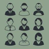 Avatars d'icônes Icônes noires et blanches à l'arrière-plan Photos stock