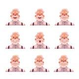 Avatars d'une chevelure gris d'expression de visage de vieil homme Photos stock