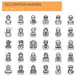 Avatars da ocupação, ícones perfeitos do pixel ilustração royalty free