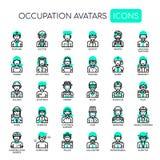 Avatars da ocupação, ícones perfeitos do pixel ilustração stock