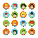 Avatars das caras do homem e da fêmea do pixel Foto de Stock Royalty Free