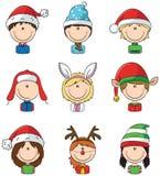 Avatars das crianças de Cristmas Fotografia de Stock