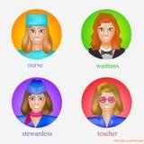 Avatars das mulheres no formulário profissional das enfermeiras, das empregadas de mesa, das comissárias de bordo e dos professor Foto de Stock
