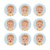 Avatars de bébé Émotions d'enfant Ensemble d'expressions du visage d'enfant en bas âge Caractères de style de bande dessinée illustration de vecteur