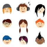 Avatars de couleur - adolescents Images libres de droits