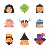 Avatars de jeu d'imagination Portraits de vecteur de princesse de lutin de guerrier de roi de magicien d'elfe de caractères de co illustration stock