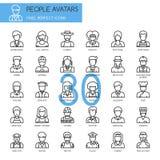 Avatars de personnes, ligne mince icônes réglées illustration stock