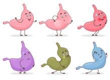 Avatars de visage d'émoticône d'emoji d'estomac de bande dessinée de vecteur Expressions mignonnes et émotions de stomack de vent illustration de vecteur