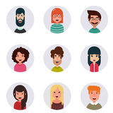 Avatars. Different human faces. Vector illustration. Stock Image
