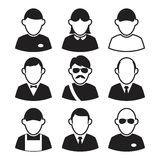 Avatars dos ícones Ícones preto e branco dos povos Foto de Stock Royalty Free