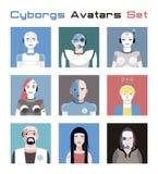 Avatars dos Cyborgs ajustados Imagem de Stock