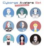 Avatars dos Cyborgs ajustados circulares Fotografia de Stock
