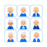 Avatars elderly people. Illustrations of heads of pensioner in rounded squares. Male and female faces. Illustration of people. Characters isolated on white royalty free illustration