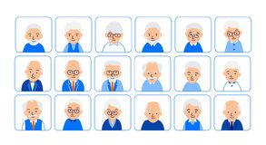 Avatars elderly people. Illustrations of heads of pensioner in rounded squares. Male and female faces. Illustration of people. Characters isolated on white vector illustration