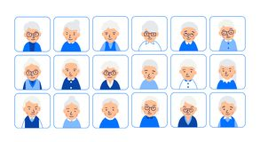 Avatars elderly women. Illustrations of heads of pensioner in rounded squares. Female faces. Illustration of women characters. Isolated on white background in royalty free illustration