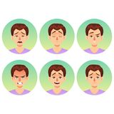 Avatars emotions. Set a man with a variety of emotions. Male face with different expressions. Man in flat design Royalty Free Stock Photography