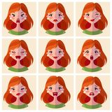 Avatars emotions. Set a woman with a variety of emotions. Female face with different expressions. stock illustration