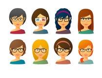 Avatars fêmeas que vestem vidros com vários penteados Fotos de Stock Royalty Free