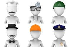 avatars för man 3d olika jobb Royaltyfri Bild