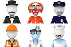 avatars för yrken 3d för rengöringsduk Arkivbilder