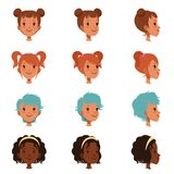 Avatars of female faces with different haircuts and hairstyles. Front and side view. Isolated flat vector illustration. Avatars of female faces with different Royalty Free Stock Photos