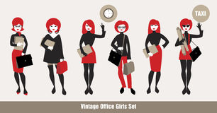 Avatars Girls Full Body. Business girls avatars dressed in 60s-70s clothes Royalty Free Stock Photo