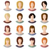 Avatars of girls in modern flat design Stock Images