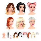 Avatars. 6 hairstyles, 6 make-up, 6 mouths, 1 head royalty free illustration