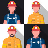 Avatars lisos do vetor dos bombeiros ilustração royalty free