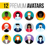 Avatars lisos modernos do vetor ajustados Ícones coloridos do usuário Imagem de Stock