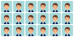 Avatars male emotions in flat design. Vector illustration. Royalty Free Stock Image