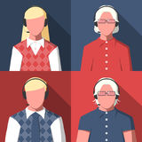 Avatars male and female silhouettes call center operators Royalty Free Stock Images