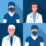 Avatars of male and female silhouettes of doctors and nurses. Male and female silhouettes of medical workers for user profile picture. Avatars of men and women stock illustration