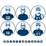 Avatars masculinos e fêmeas de povos dos esportes Imagem de Stock