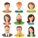 Avatars masculinos e fêmeas do vetor liso Foto de Stock Royalty Free