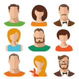 Avatars masculinos e fêmeas do vetor liso Foto de Stock Royalty Free