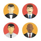 Avatars men in suits of different nationalities. Flat design Royalty Free Stock Photos