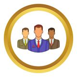 Avatars men vector icon. In golden circle, cartoon style isolated on white background Vector Illustration