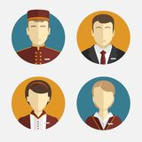 Avatars mensen Het hotelpersoneel Ontvangst, gordijnen, meisjemanager Vector vlak ontwerp Stock Afbeelding