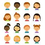 avatars Personnages de dessin animé Style plat Image libre de droits