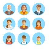 Avatars plats de visages heureux de membres de la famille réglés illustration stock