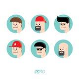 Avatars reeks van het de gezichten de vectormalplaatje van mensen Stock Foto's